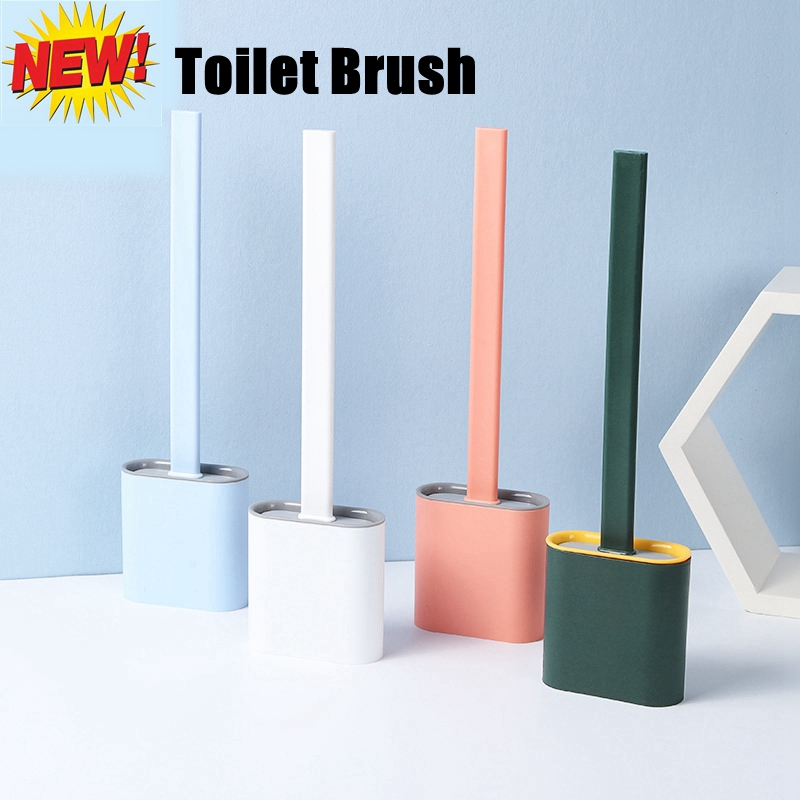 Silicone Toilet Brush with Base Rubber Head Holder Floor-standing Wall-mounted Cleaning Brush Bathroom Accessories Drop Shipping(China)