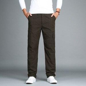Image 4 - גברים של צמר מכנסיים מטען חורף עבה חם מכנסיים מלא אורך רב כיס מזדמנים רחבה צבאי טקטי מכנסיים בתוספת גודל 3XL