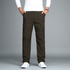 Image 4 - Calças de carga de lã masculina inverno grosso calças quentes comprimento total multi bolso casual militar baggy tático calças mais tamanho 3xl