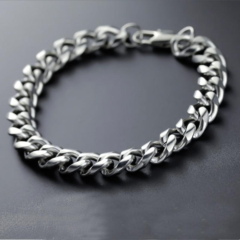 bracelet mens cuban link chain stainless steel charm bracelet steel hip hop rock charm couple bracelet gifts for man accessories