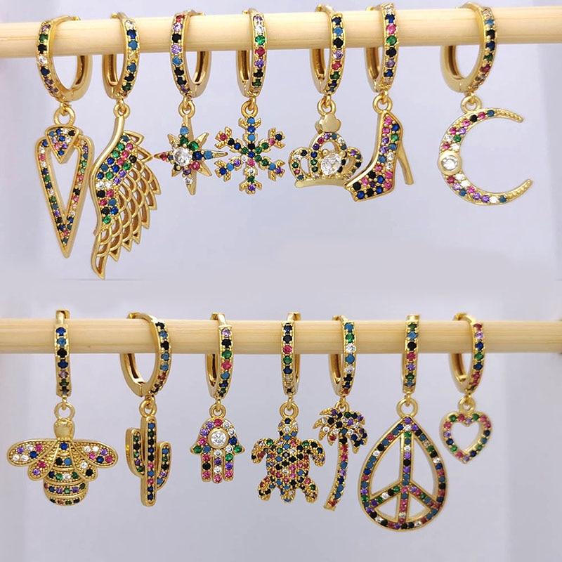 1piece Small Hoop Earrings Women Heart Bee Geometric Cactus Leaf Flower Crown Star Horse CZ Rainbow Jewelry Gold Color Kid Hoops
