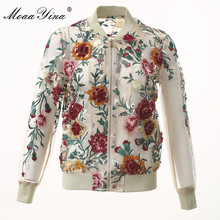 MoaaYina High Quality Fashion Designer Jacket jacket Autumn Women Mesh Embroidery Applique Beading