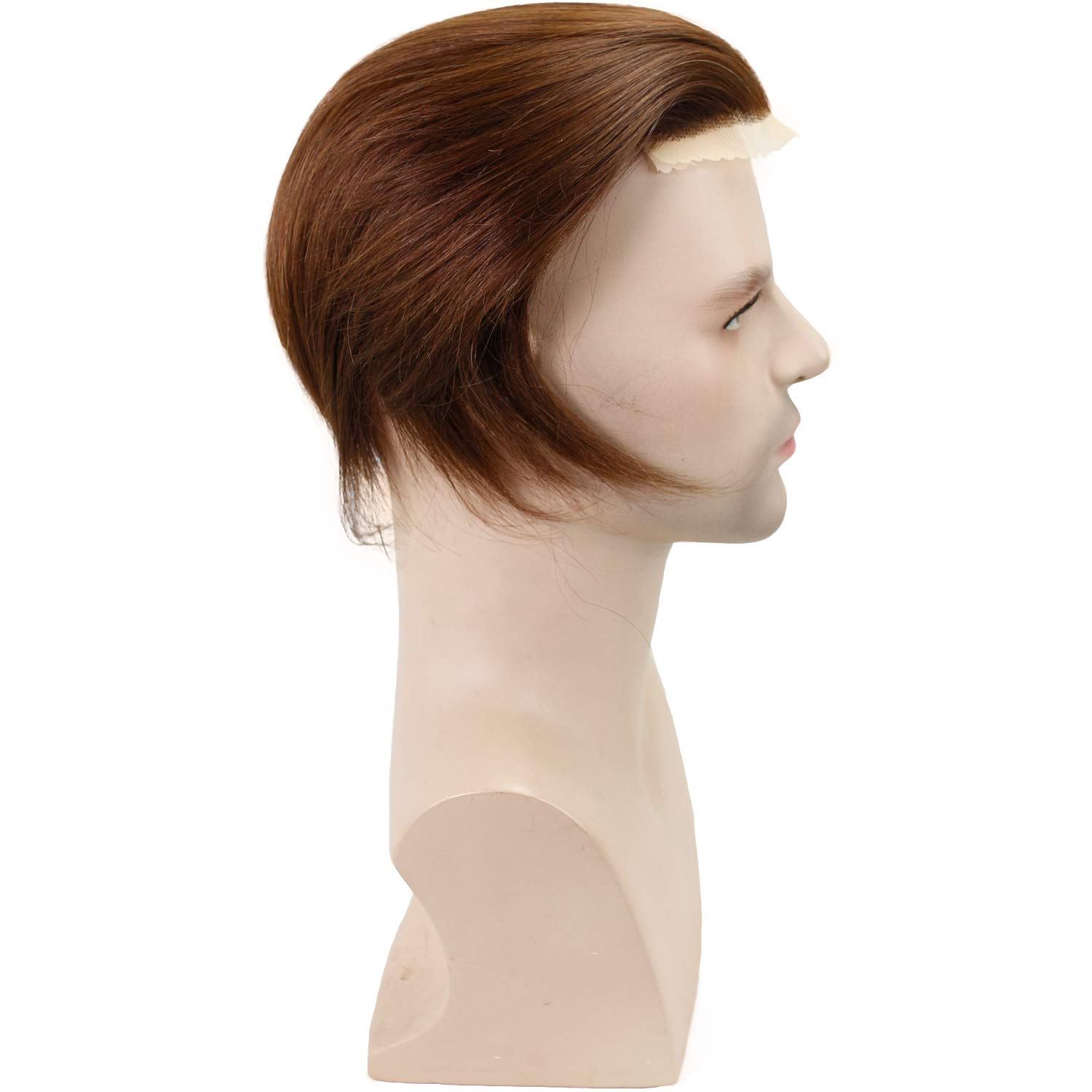 Men's Toupee Hairpieces 100 European Virgin Human Hair Replacement System Pieces Swiss Lace Net with PU Base Size 4.33x6.69 inch