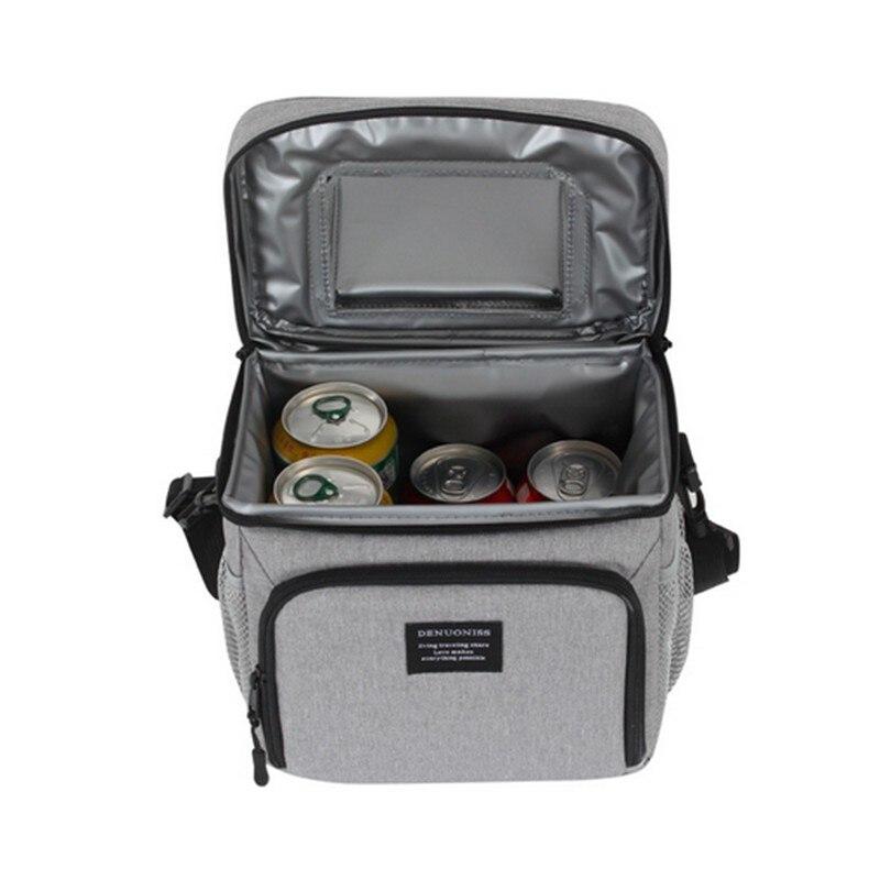 8L imperméable à l'eau frais garder boîte Oxford tissu EVA alimentaire isolation sac à déjeuner simple-épaule bière à emporter Pack fermeture éclair sac de pique-nique - 3