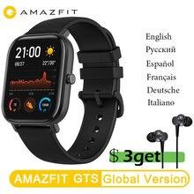 Amazfit gts smartwatch original, versão global, huami, ar livre, gps, corrida, monitoramento de frequência cardíaca, à prova d água 5atm