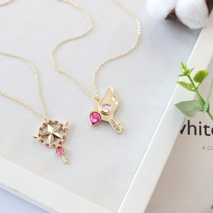 Аниме карта Captor Sakura прозрачное ожерелье с кулоном в форме игральных карт Clow волшебная палочка со звездой металлическим кристаллом для косплея КИНОМОТО Сакура кулон