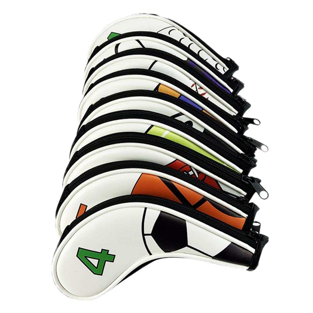 Lot 9 Golf Club Iron Head Covers Set Headcovers Protect Case & Zipper Closure, Long Neck