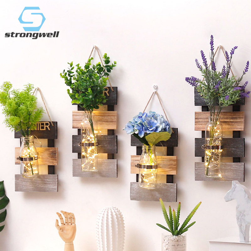 13.99US $ 40% OFF Strongwell Nordic Hydroponics Glass Vase Wall Hanging Creative Wood Crafts Spring ...