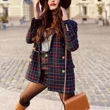 Plaid Blazer Suits Skirts Tweed Two-Piece-Set Women Ladies Chic Red Fashion Vintage ZXQJ