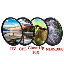 KnightX MCUV UV CPL ND Star Line ND2 ND1000 ตัวแปรPolarizer Colseมาโครกล้องDslrเลนส์กรองสีแสงสี