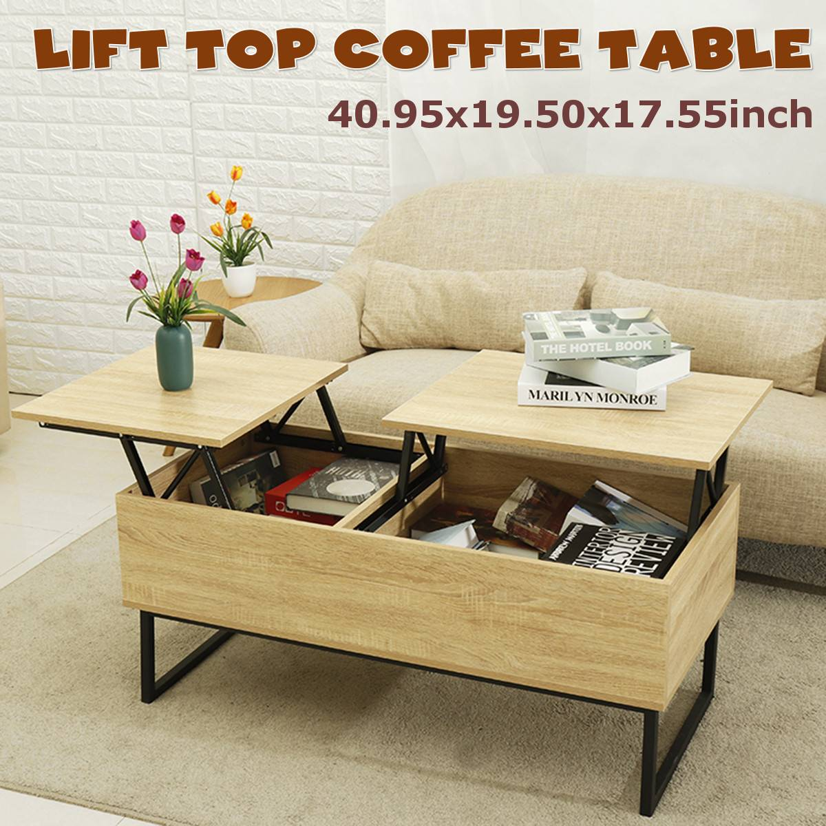 Lift-top Multifunctional Living Room Tea Table Economic Type Small Apartment Coffee Table Nordic Tea Table Simple Solid Wood