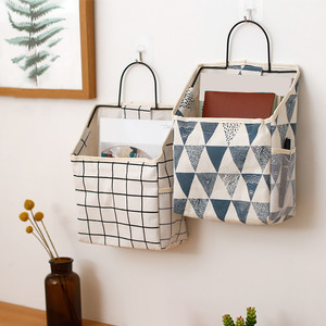 Wall-mounted Storage Bag Book Magazine Mobile Phone Holder Storage Bag With Hook Pocket Storage Bags Containers Wall Hanging#R25