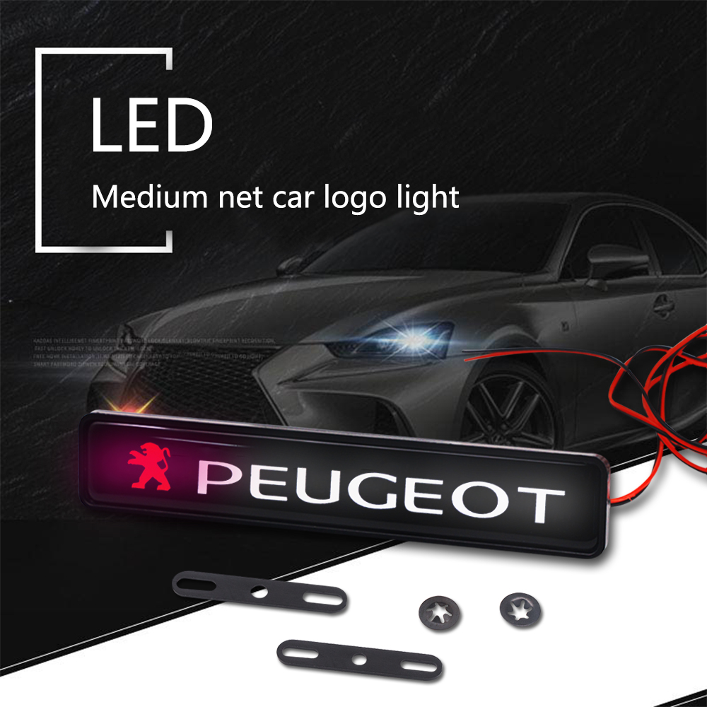 Car Styling Sticker Front Grille Emblem LED Decorative Lights For Peugeot 206 207 208 301 307 308 407 508 3008 Car Accessories