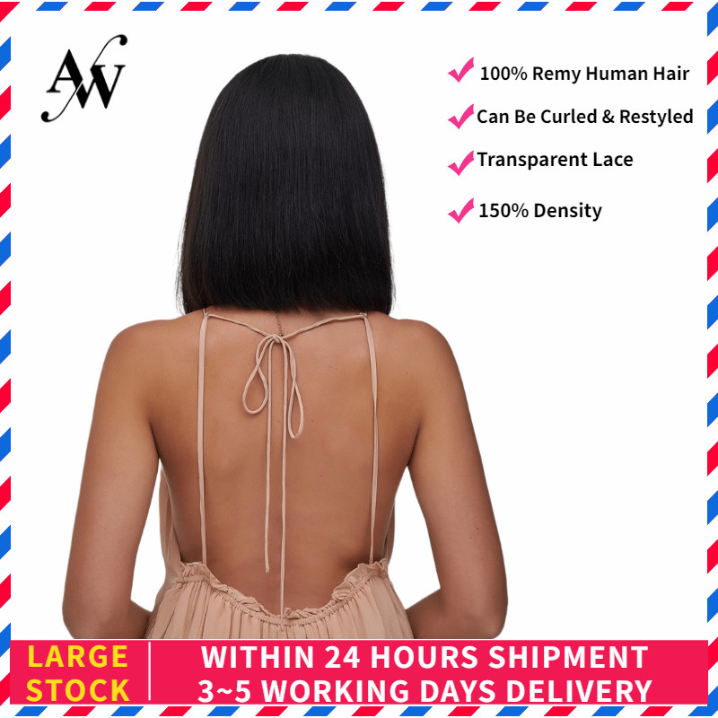 AW 10'' 12'' Natural Black 150% Density Bob Half Lace Wig HD Transparent Pre Plucked Hairline Lace Front Remy Human Hair Wig