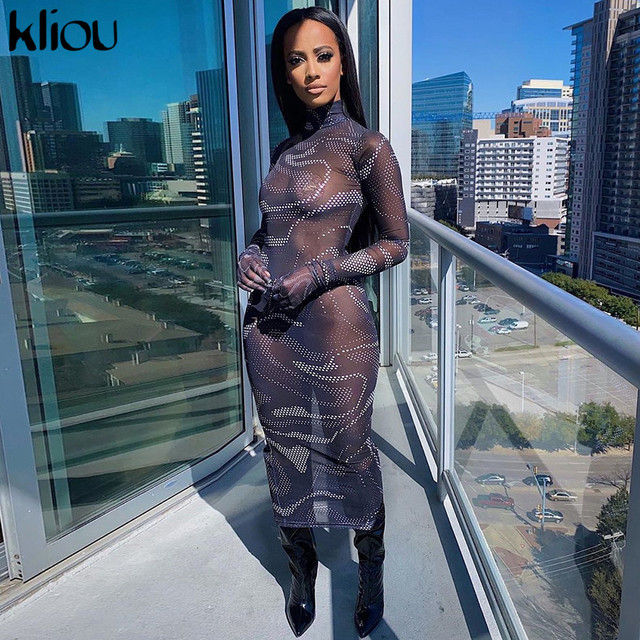 Kliou sexy mesh dress full sleeve 2020 summer dresses for women hollow out skinny turtleneck fashion female outfit slim clubwear 5