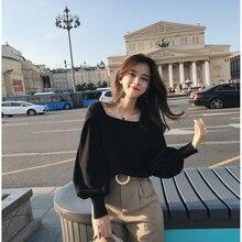 2019 MISHOW sonbahar vintage örme kazak kadın moda rahat kare yaka fener kollu kısa üstleri MX18C5196
