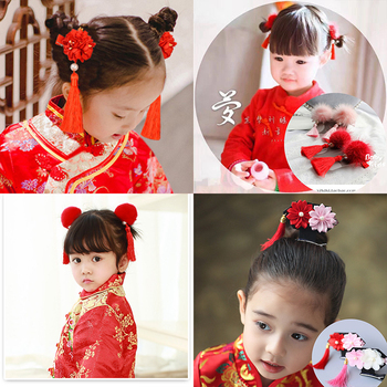 1or2pcs/set Multi style Girls Hair Clips Chinese style Traditional Princess Tassels Flower Hairpins Kids Hair Accessories retro chinese traditional wedding hair jewelry adorn chinese ancient wedding hairpins hair accessories