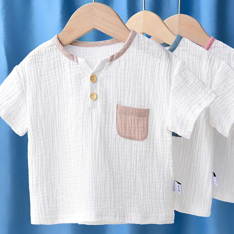 2020 Summer Baby Boys Cotton Linen Shirts Short Sleeve Loose Babies Tops Boys Shirts Children Clothing LZ174