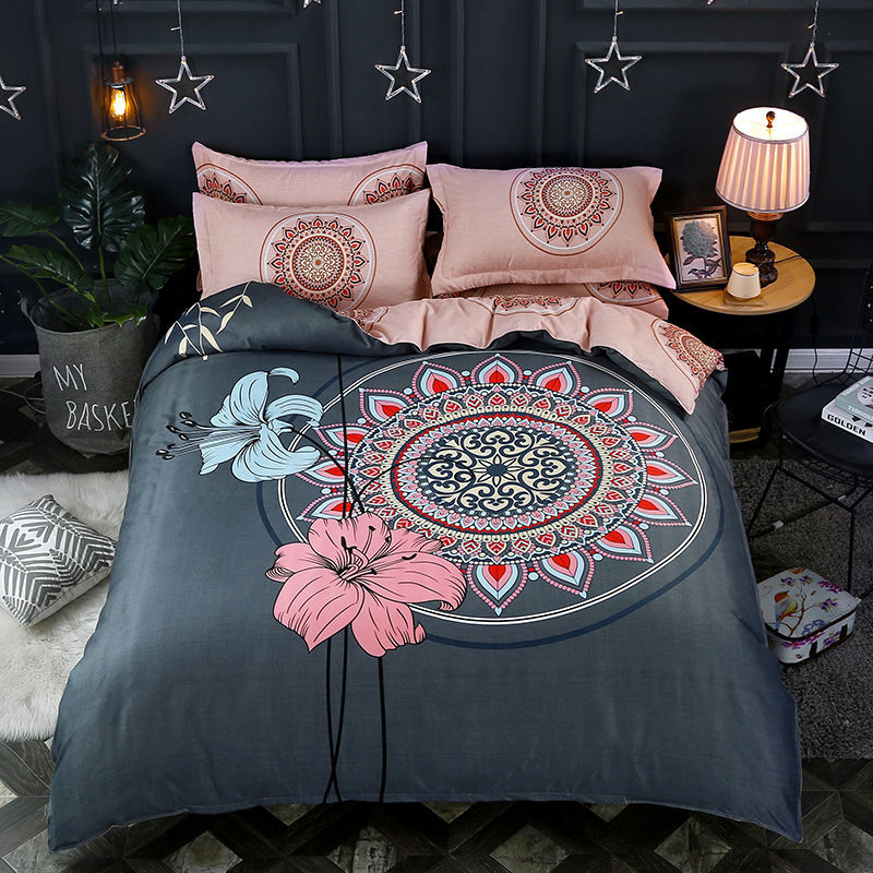 Activity Ecology Thick Brushed Large Version Of Flower Bohemian Classical Ethnic-Style Quilt Cover Four-piece Bed Sheet Set