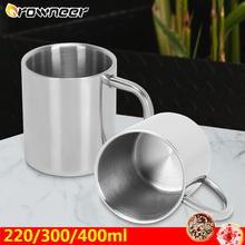 220/300/400ml Double Wall Anti Scalding Coffee Mug Insulated Portable Stainless Steel Polishing Beer Tea Juice Drinking Cup