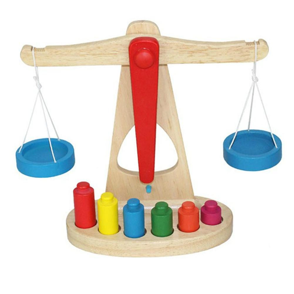 Kuulee Wooden Balance Scale Group Children's Mathematics Teaching Aids Kindergarten Early Education Weighing Toy