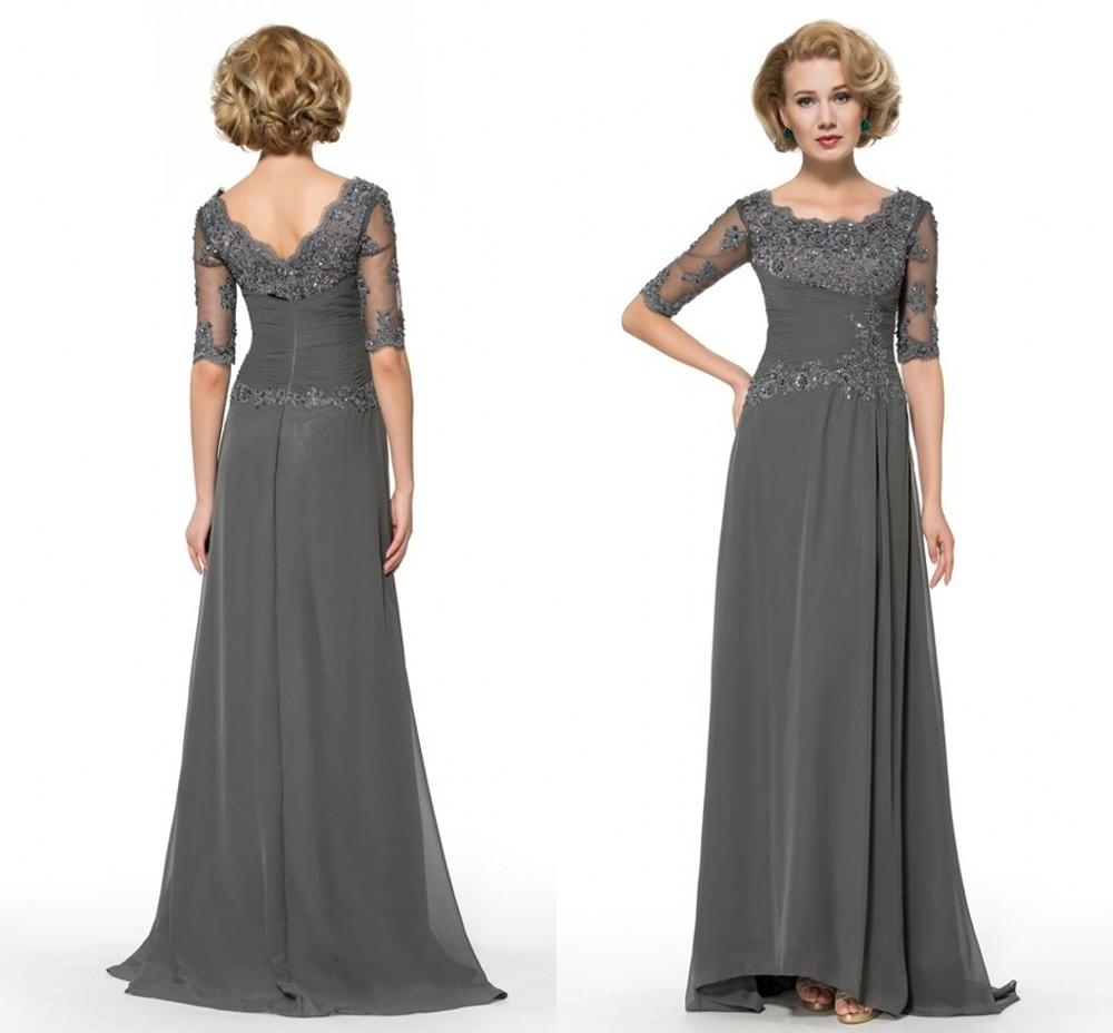 Beaded Lace Gray Mother of The Bride Dresses Plus Size 2020 Chiffon Half Sleeves Groom Godmother Evening Dress For Wedding Party