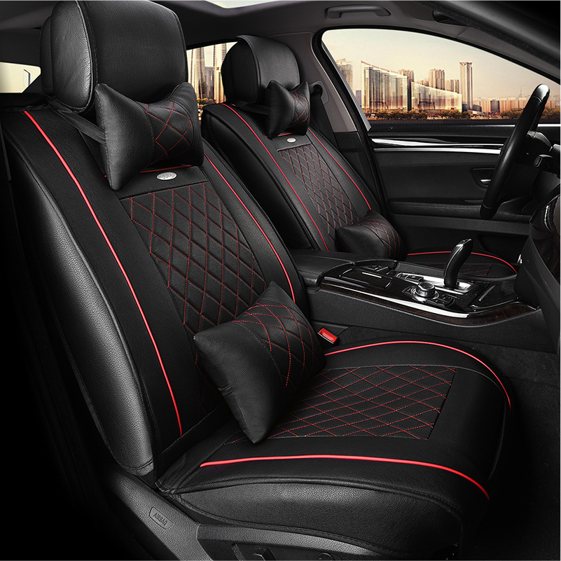 WLMWL Universele Lederen Auto seat cover voor Peugeot 206 307 407 207 2008 3008 508 208 308 406 301 alle modellen auto accessorie - 2