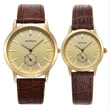 Moda proste zegarki kwarcowe zegarki zegarek dla pary prawdziwej skóry kwarcowe zegarki na rękę moda mężczyzna kobiet zegarki reloj hombre reloj mujer tanie tanio WOONUN Moda casual QUARTZ STAINLESS STEEL 3Bar CN (pochodzenie) Klamra Hardlex 088037 24cm Nie pakiet 38mm Skórzane ROUND
