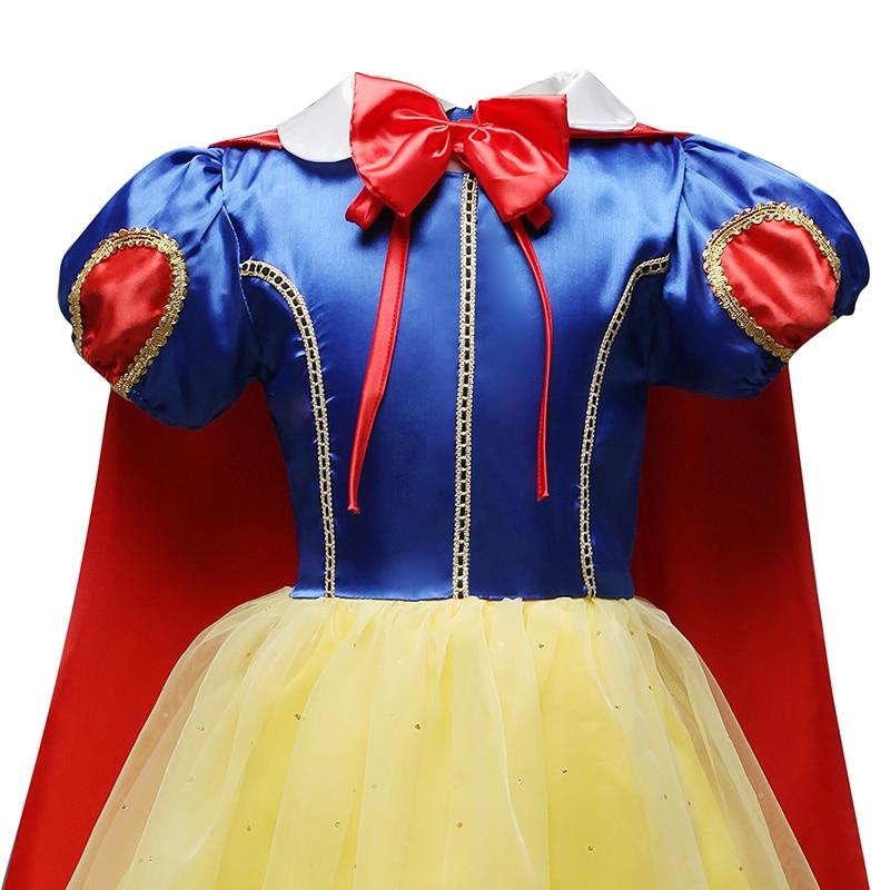 Fancy Snow White Princess Dress Christmas Costume Halloween Cosplay Dress up Baby Girl Clothes Birthday Party Kids tutu Dress 3