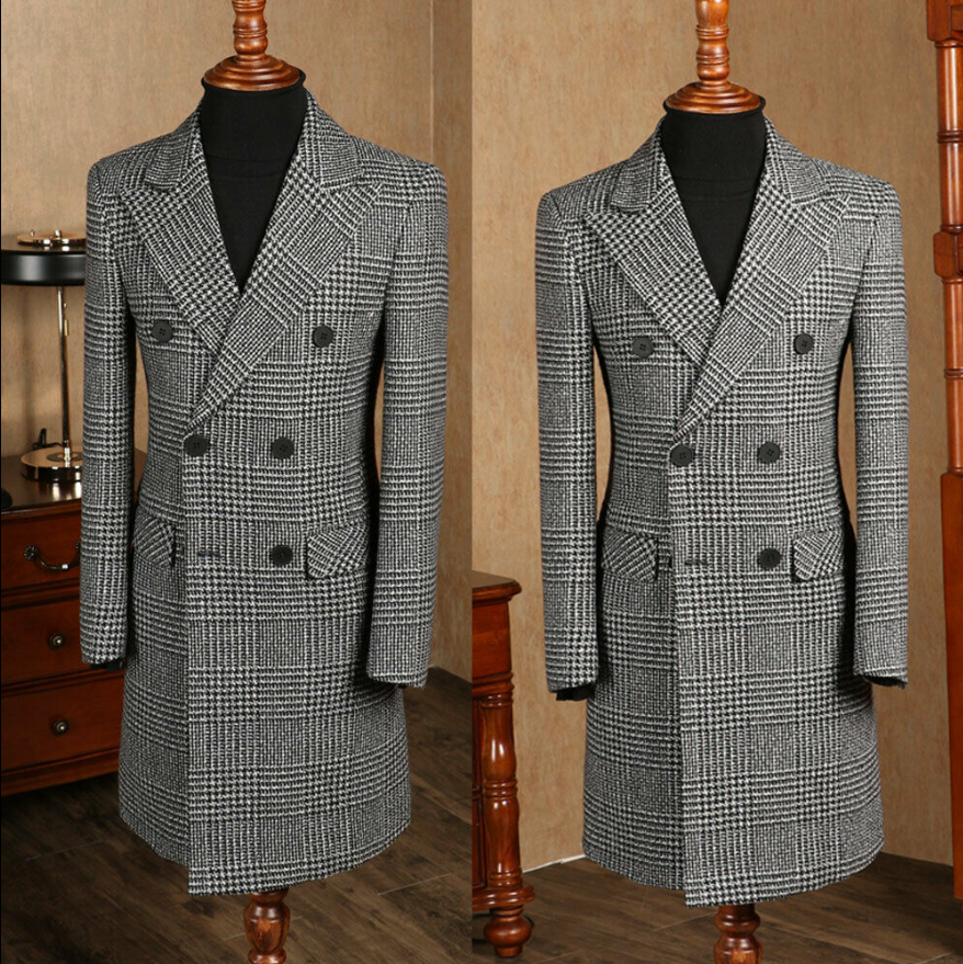 2020 Handsome Mens Tweed Suit Houndstooth Check Retro Peak Lapel Double-breasted Tailored Suit