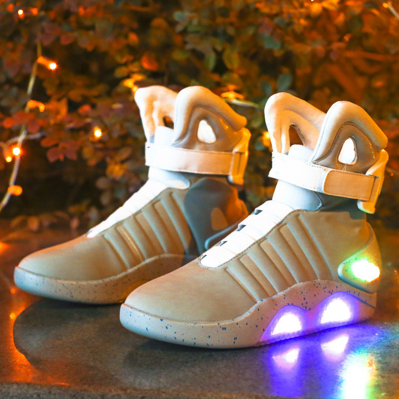 Adults Basketball Shoes USB Charging Led Luminous Shoes For Men's Fashion Light Up Casual Men Back To The Future Glowing Sneaker