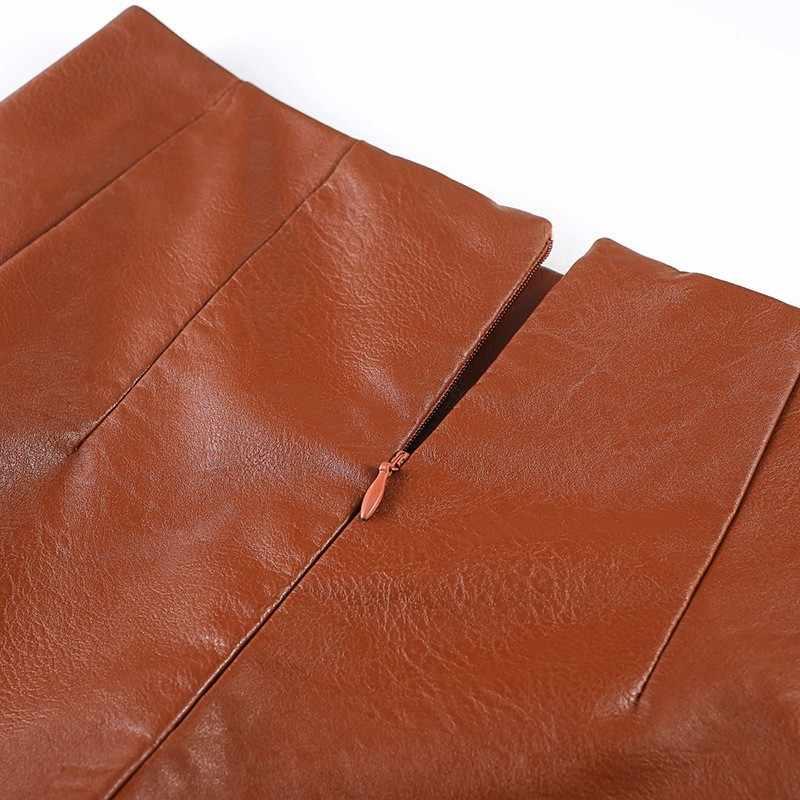 2020 jesień Harajuku PU Faux skórzana spódnica szorty kobiety brązowy Plus rozmiar 4XL wysokiej talii biuro Lady A-Line szerokie nogawki spódnica szorty