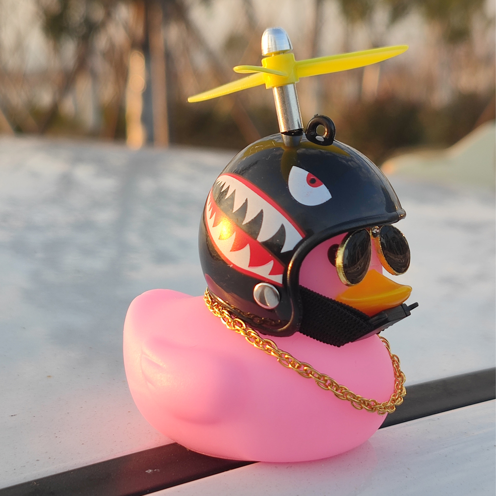 Car Ornament Duck with Helmet Broken Wind Small Yellow Duck Road Bike Motor Helmet Riding Cycling Bicycle Accessories