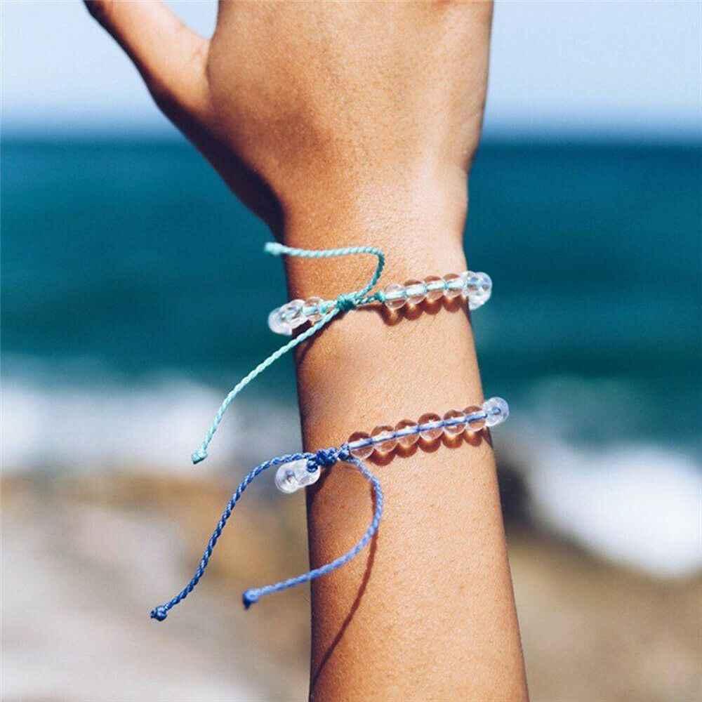 2020 mulher homem 4 oceano natural contas de pedra frisado pulseiras boho praia ajustável artesanal corda/cordão amizade jóias presentes