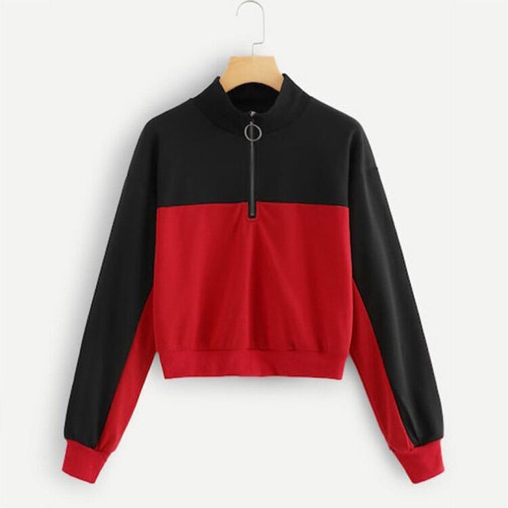 Zipper Turtleneck Sweatshirt Women Girls Splicing Color Patchwork Long Sleeve Hoodies Pullover Top Sweat Femme Women Sweatshirt