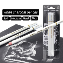 Professional 3Pcs White Charcoal Soft/Medium/Hard Pencils For Sketching Highlight Wood Sketch Pens Art Office School Supplies