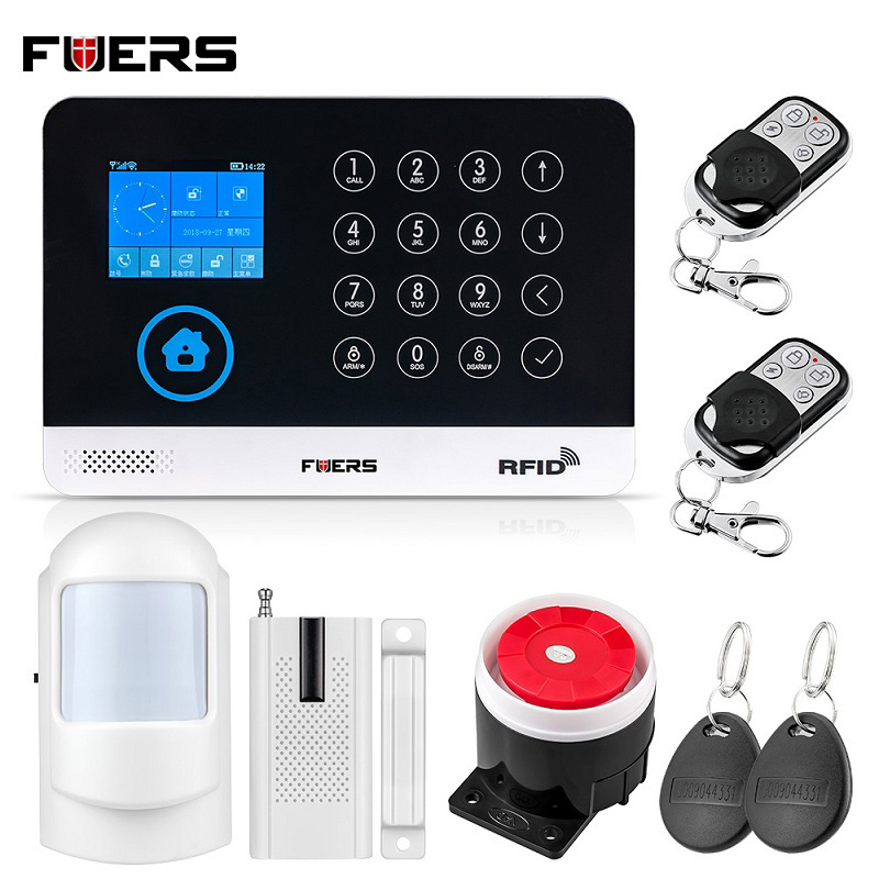 FUERS WG-11 WIFI GSM Alarm System Wireless Home Security Buglar Alarm Panel Touch Screen Android IOS APP Control 9 Languages