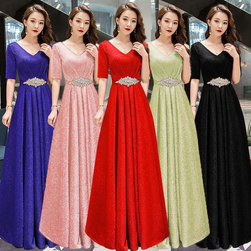 2020 Sale Rushed Bridesmaid Dresses Long Chorus Spring Performance Dress Female Conductor Show Thin Host Evening Student Modern