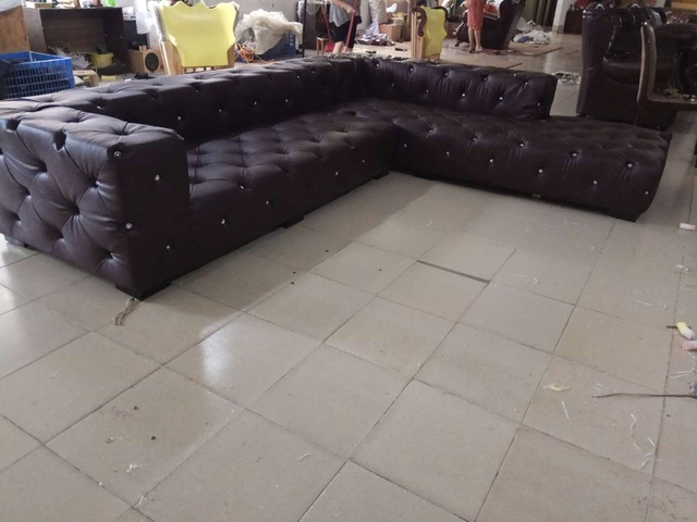 Leather Sectional Chesterfield L Shape Sofa w/ Crystal Buttons  6