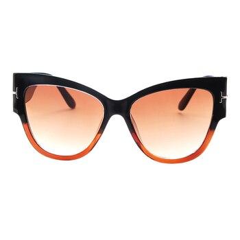 2019 New Fashion Brand Designer Tom Cat Eye Sunglasses Women Oversized Frame Vintage Sun Glasses oculos de sol UV400 - C5