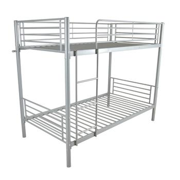 Bunk Bed Iron Frame With Ladder For Kids 198x107x165cm High Quality Bed Suitable For Bedroom Twin Size Gray Color
