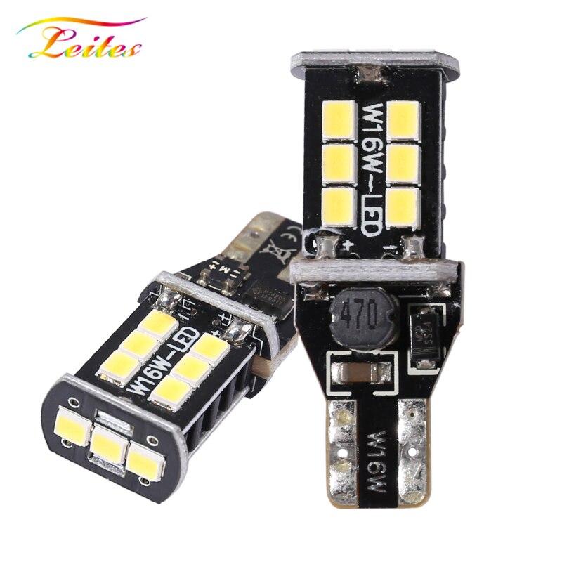 2 шт. T15 W16W WY16W 15SMD 2835 Светодиодный CANBUS без ошибок автомобиля задние светодиодные лампы тормозного светильник автоматический Обратный лампа к...
