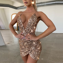 Fashion Dresses Nightclub Dynamic Party Women's Shiny Strap Red Sexy Sleeveless V-Neck With Metal Sheets Dress Ladies Costume