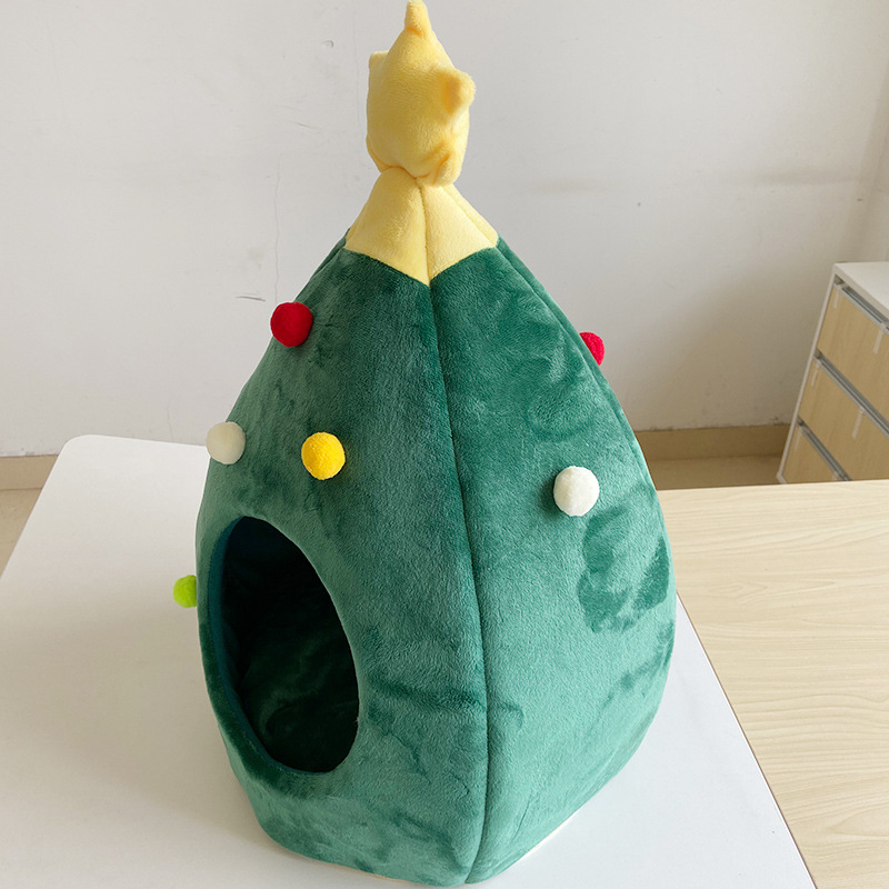 3-main-pet-cat-house-dog-bed-kennel-puppy-cave-warm-sleep-bed-christmas-tree-shape-winter-warm-bed-festival-theme-tree-hole-pet-supply
