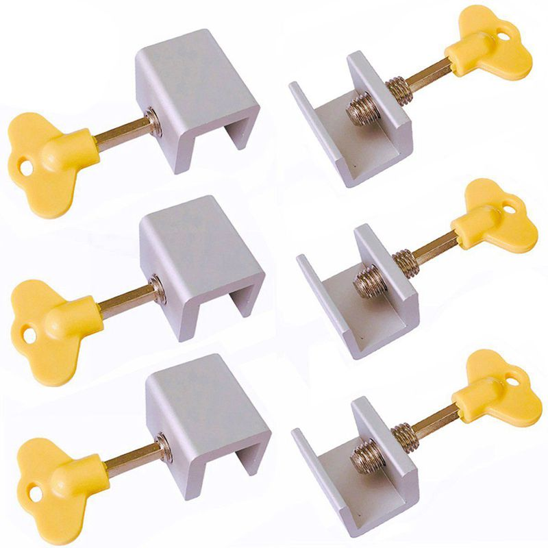 6 Pieces Adjustable Sliding Window Locks Stops Aluminum Alloy Door Frame Security Lock With Keys