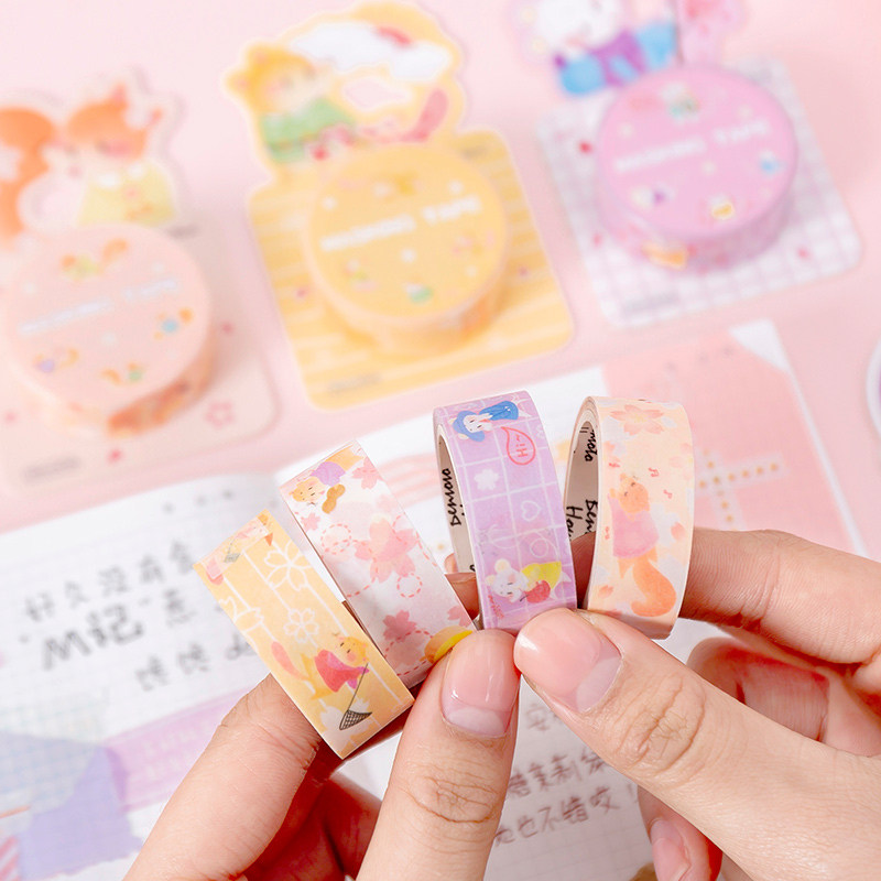 Color Cherry Rat Washi Tape Sticky Decorative Masking Paper Tape Set DIY Decoration Office Stationery Scrapbook 1PCS