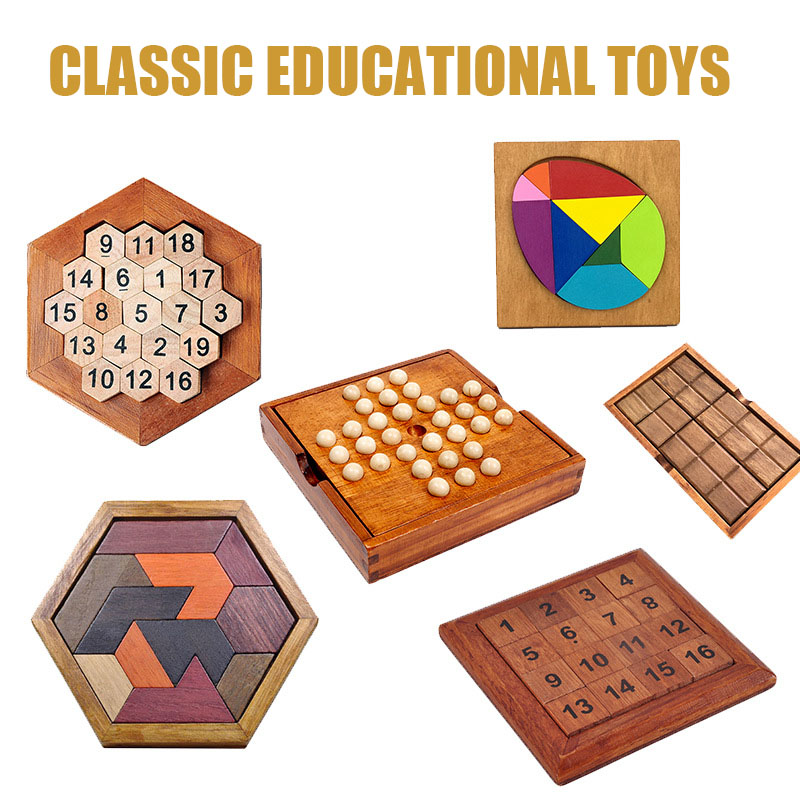 Wooden Europe Board Classical Educational Toys Single Chess Solitaire Adults/children Interaction Move Dice Cube Block Game image