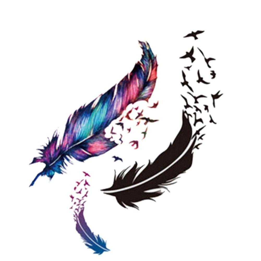 Women's Bird Wind Goose Feather Body Art Waterproof Temporary Tattoo Sticker