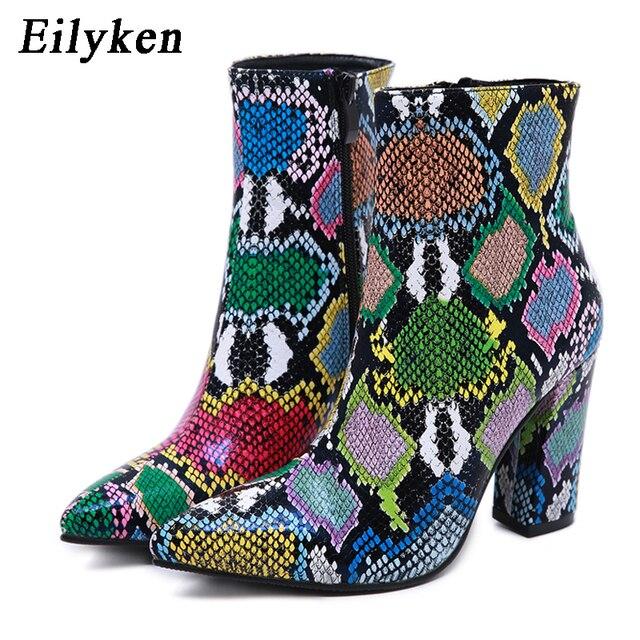 Eilyken 2020 جديد إمرأة حذاء من الجلد موضة الأخضر ثعبان الحبوب الجوارب الشتاء الإناث أشار تو عالية الكعب السيدات البريدي الأحذية الأحذية