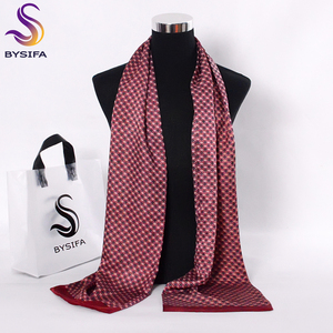 Image 2 - [BYSIFA] Black Red Long Scarves For Men Fashion Accessories Male Pure Silk Scarf Cravat Winter Flowers Pattern Scarf 160*26cm